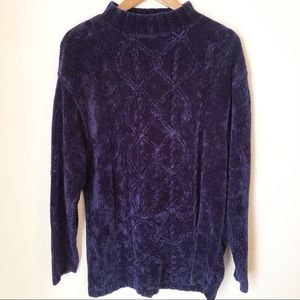 VINTAGE Navy Blue Knotted Sweater - Size Medium
